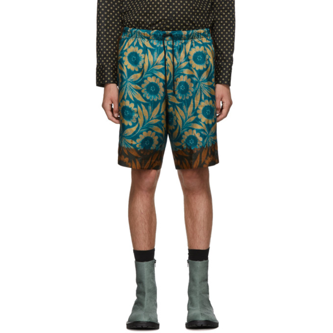 Dries Van Noten Blue and Brown Floral Shorts