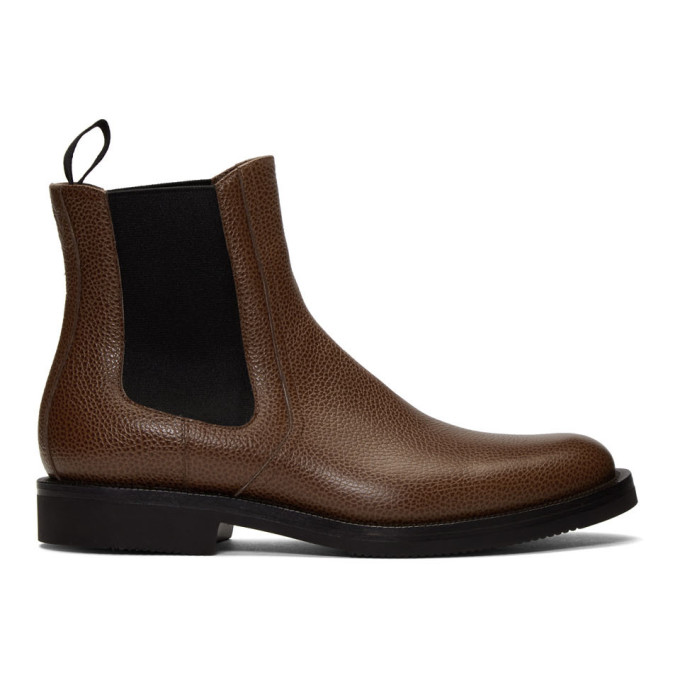 Dries Van Noten Brown Pebbled Chelsea Boots