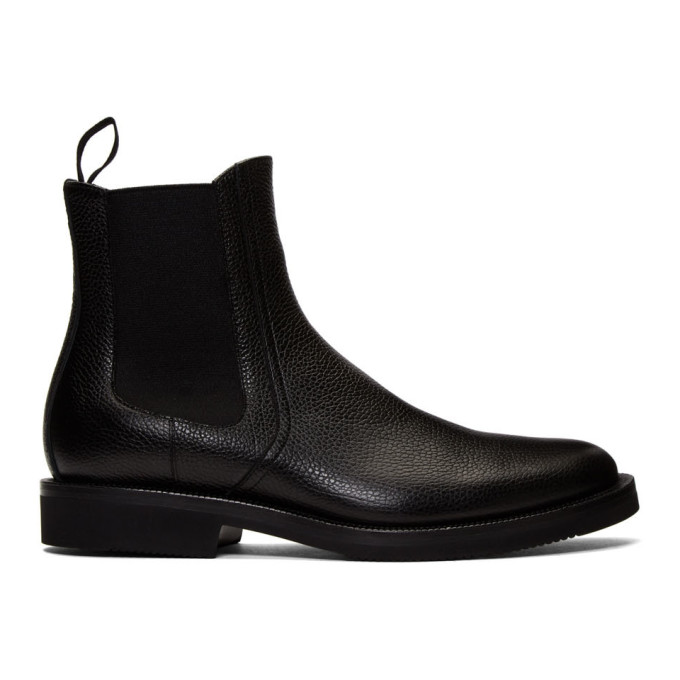Dries Van Noten Black Pebbled Chelsea Boots