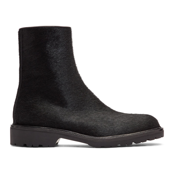 Dries Van Noten Black Pony Hair Zip Boots
