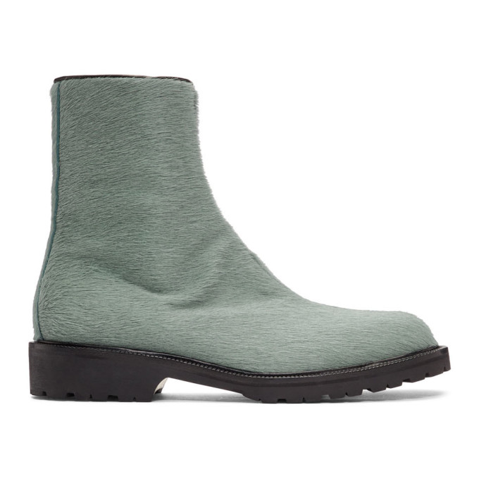 Dries Van Noten Blue Pony Hair Zip Boots