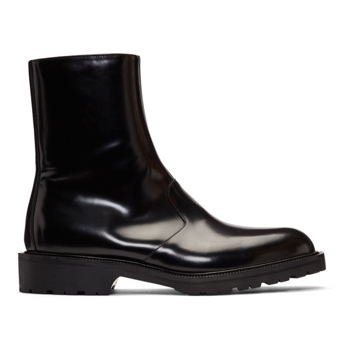 Dries Van Noten Black Patent Zip-Up Boots
