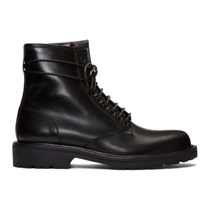 Dries Van Noten Black Lace-Up Combat Boots