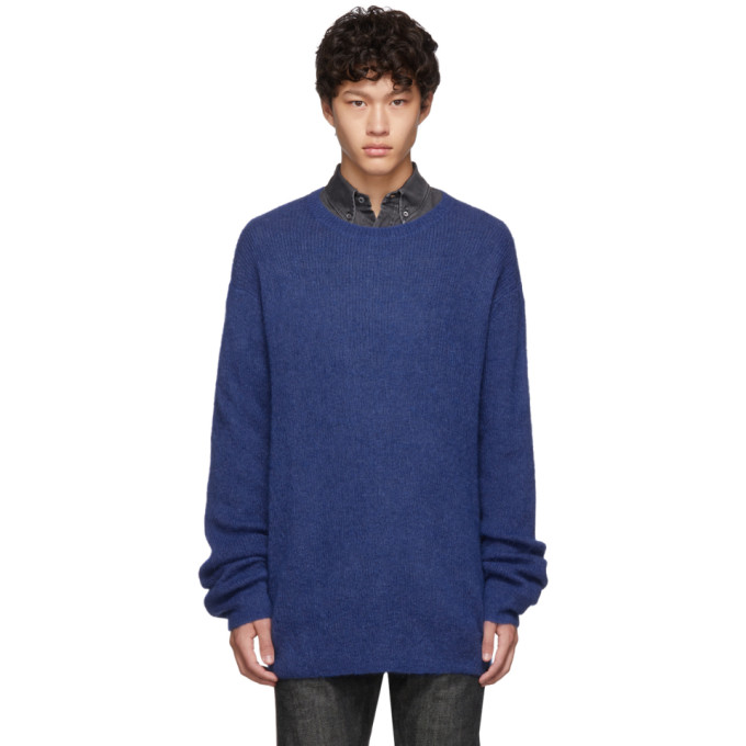 Neil Barrett ブルー モヘア 3 GG スリム ロング セーター