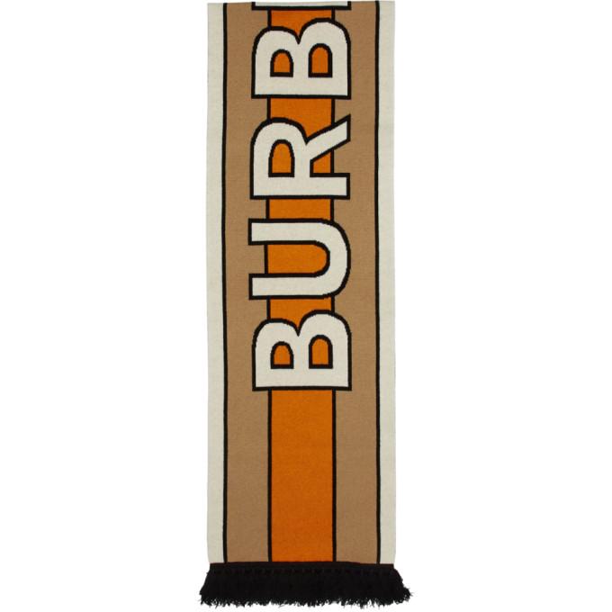 Burberry Foulard en cachemire beige et orange BB Long
