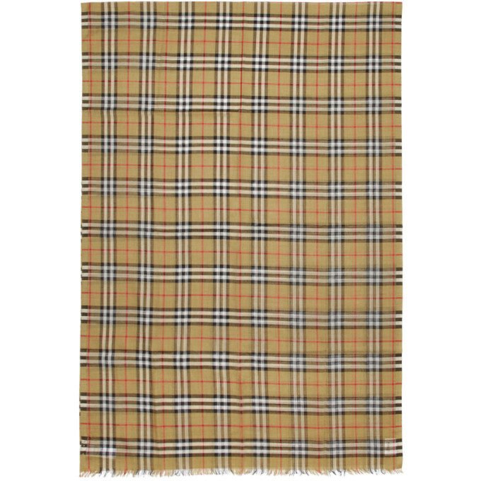 Burberry Foulard en gaze brun clair Giant Check