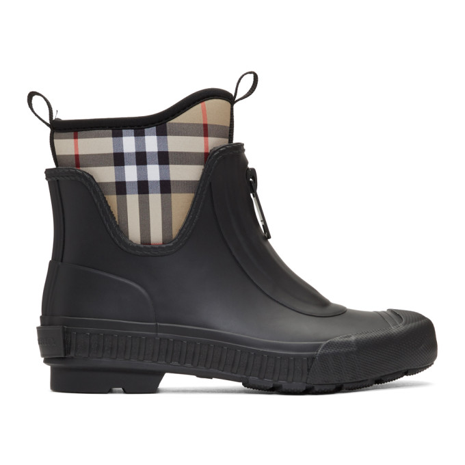 Burberry Black and Beige Flinton Rain Boots
