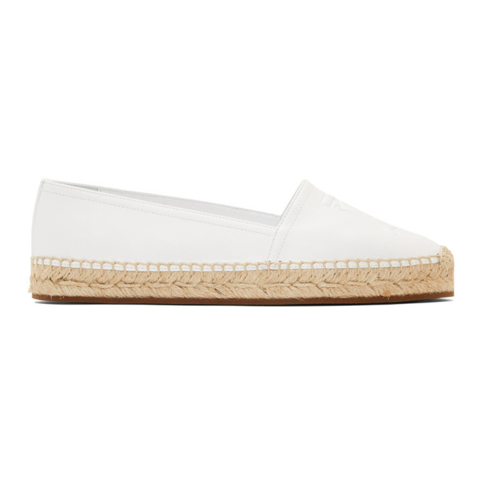 Burberry White Leather Tabitha Espadrilles