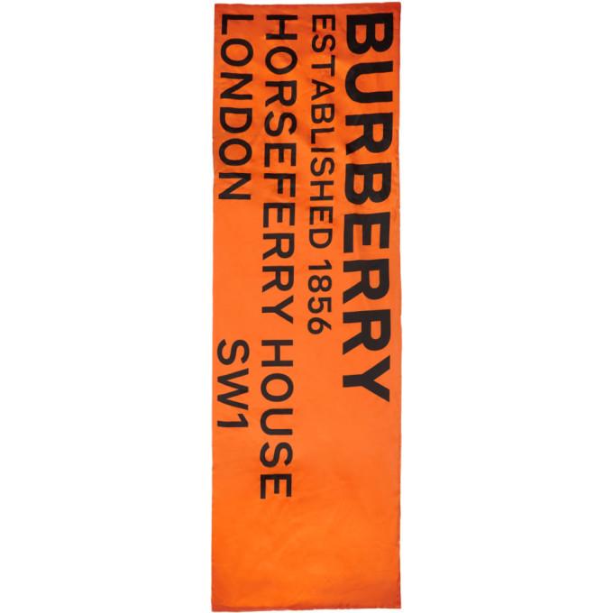 Burberry Foulard rembourre en soie a logo orange