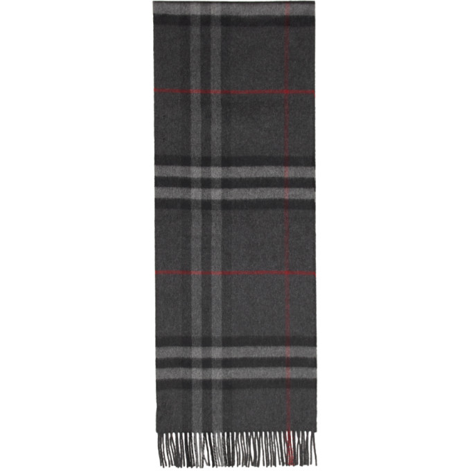 Burberry Foulard a carreaux gris The Classic Cashmere