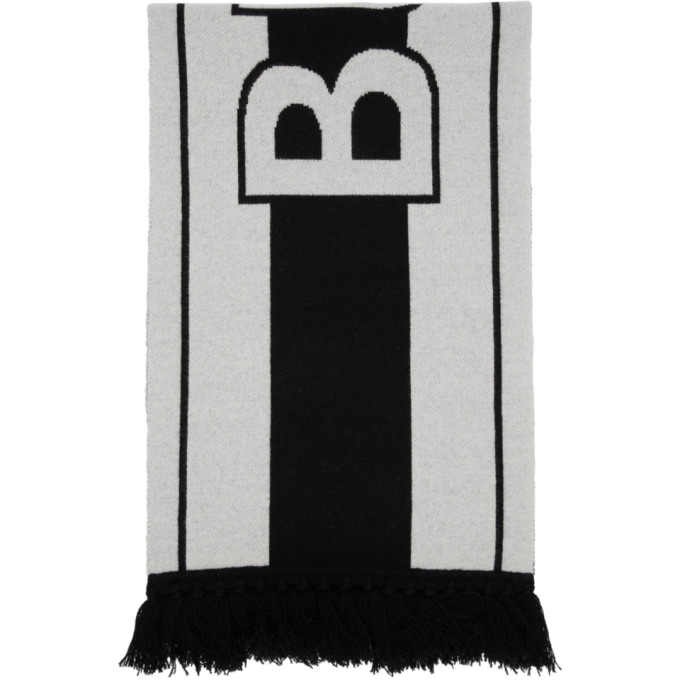 Burberry Black and White Football Scarf
