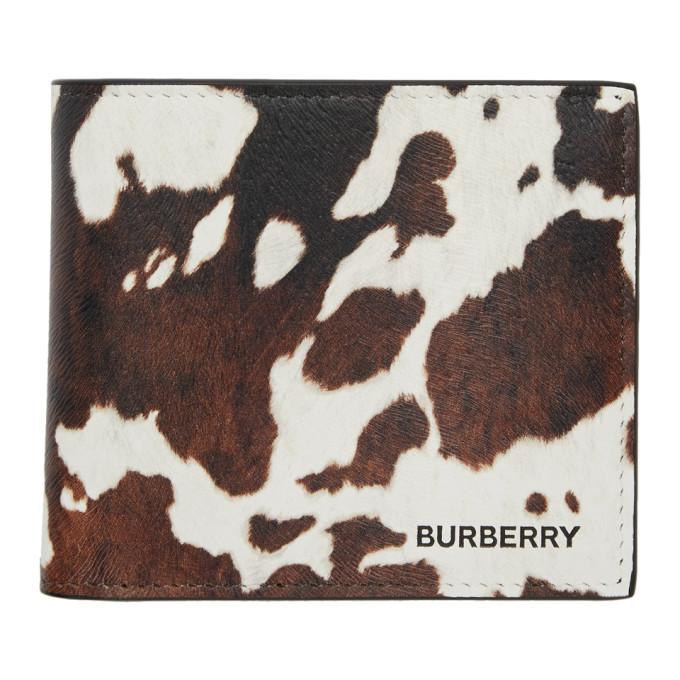 Burberry ブラウン and ホワイト カウ International バイフォールド ウォレット