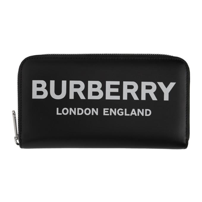 Burberry ブラック ロゴ ジップ コンチネンタル ウォレット