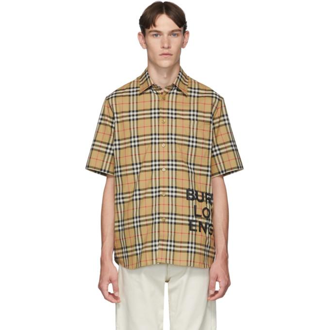 Burberry ベージュ ビンテージ チェック オーバーサイズ Sandor シャツ