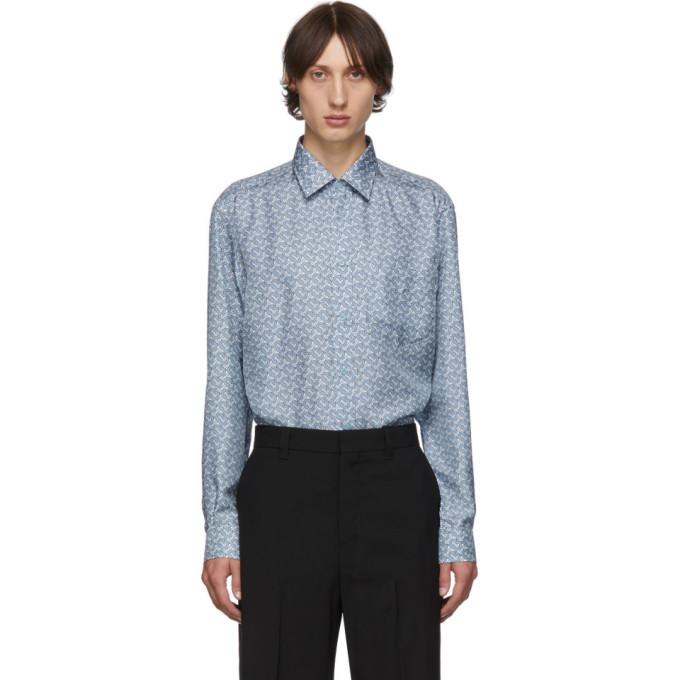 Burberry ブルー シルク モノグラム プリント クラシック シャツ