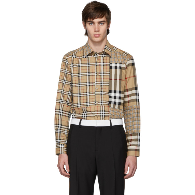 Burberry Classic Fit Patchwork Check Cotton Shirt In Neutrals