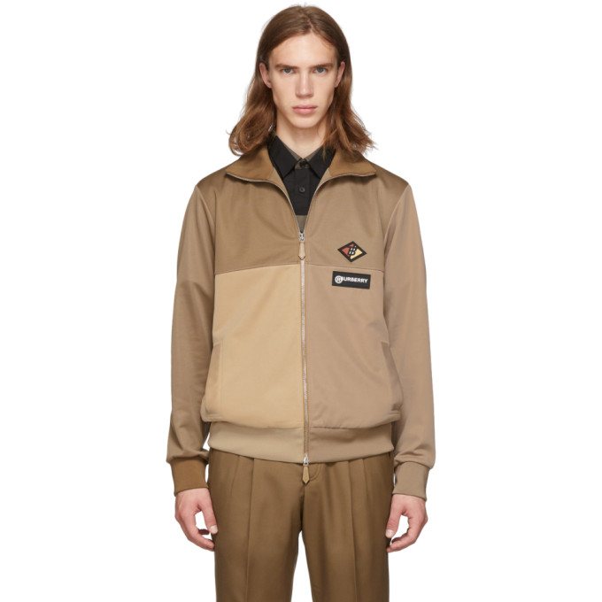 Burberry Tan and Beige Logo Track Jacket