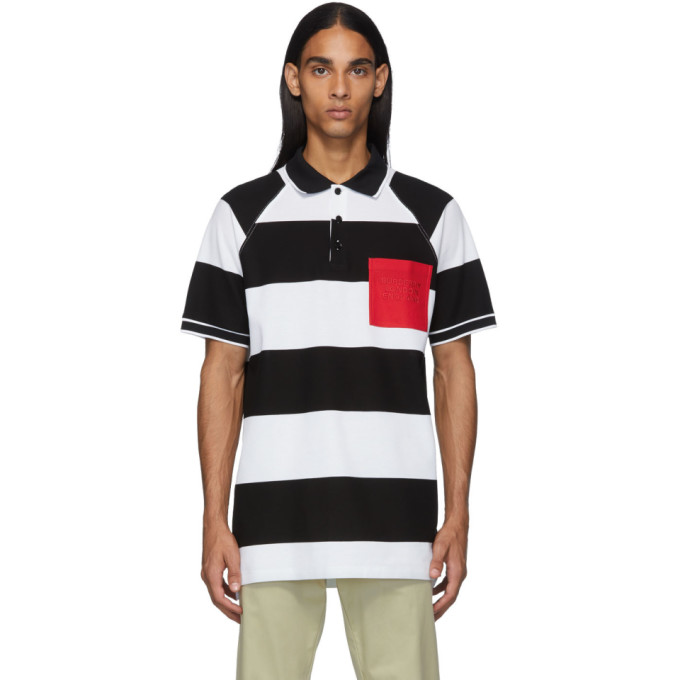 Burberry Polo noir et blanc Oversized Rugby Stripe