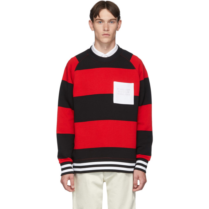 Burberry Pull molletonne rouge Rugby Stripe Bustler