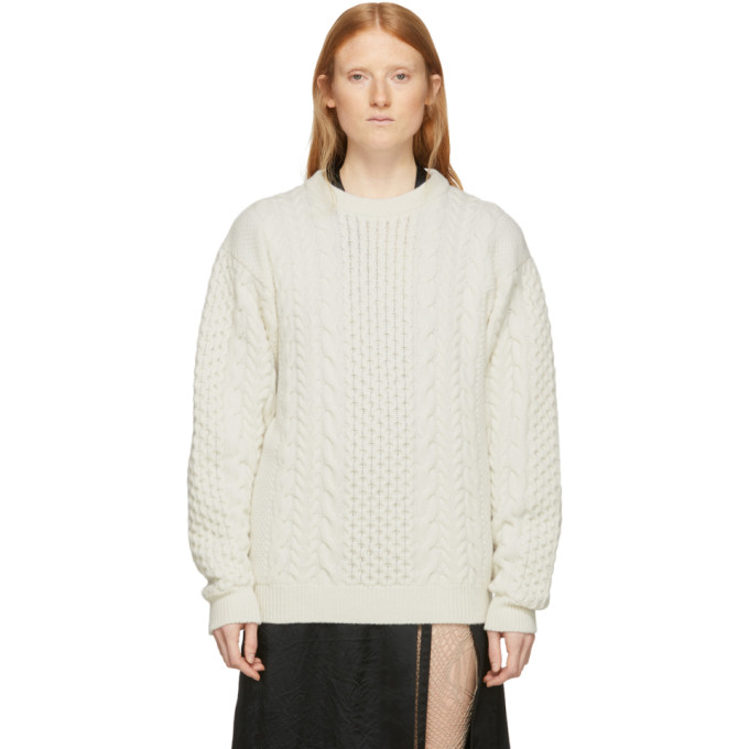 Ann Demeulemeester Off-white Wool Cable Knit Sweater In Ivory