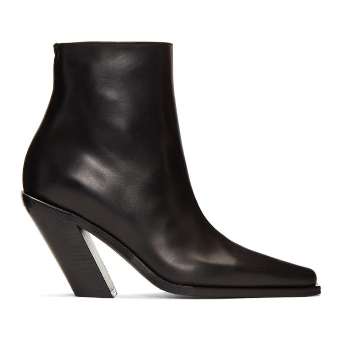 Buy Ann Demeulemeester Black Slash Heel Boots online