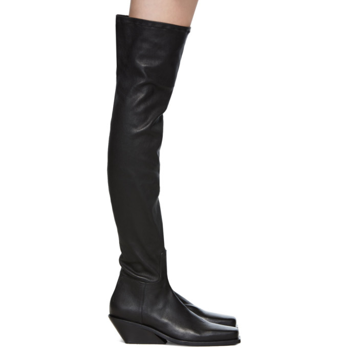 Ann Demeulemeester Black Square Toe Tall Boots