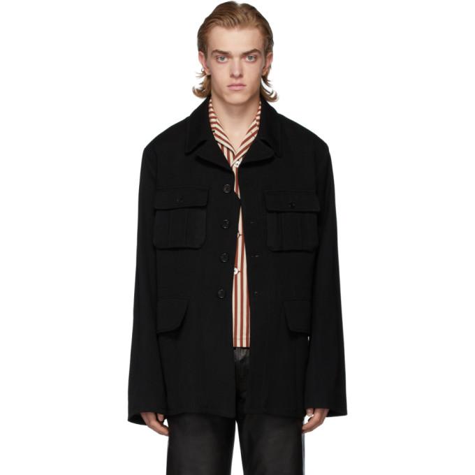 Ann Demeulemeester Black Wool Military Jacket