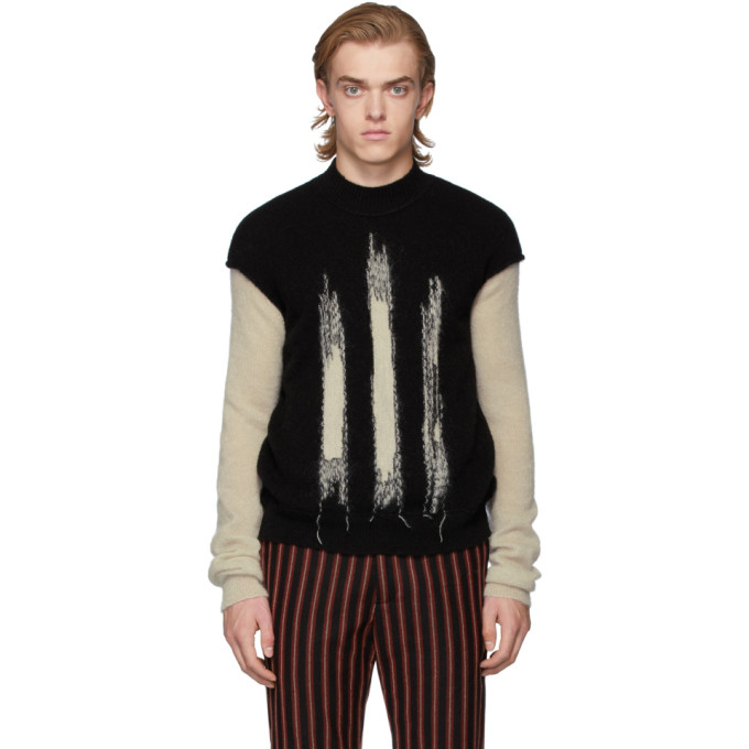Ann Demeulemeester Black And Off-White Crewneck Sweater In Black/Stone