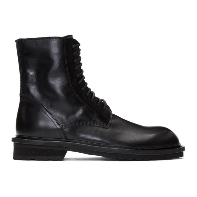Ann Demeulemeester Black Combat Lace-Up Boots