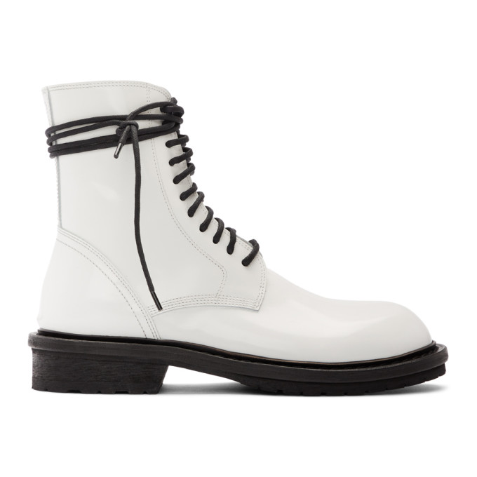 Ann Demeulemeester SSENSE Exclusive White Leather Lace-Up Boots