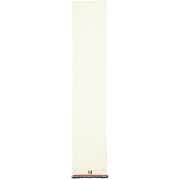 Thom Browne Foulard en maille torsadee a poches blanc Aran