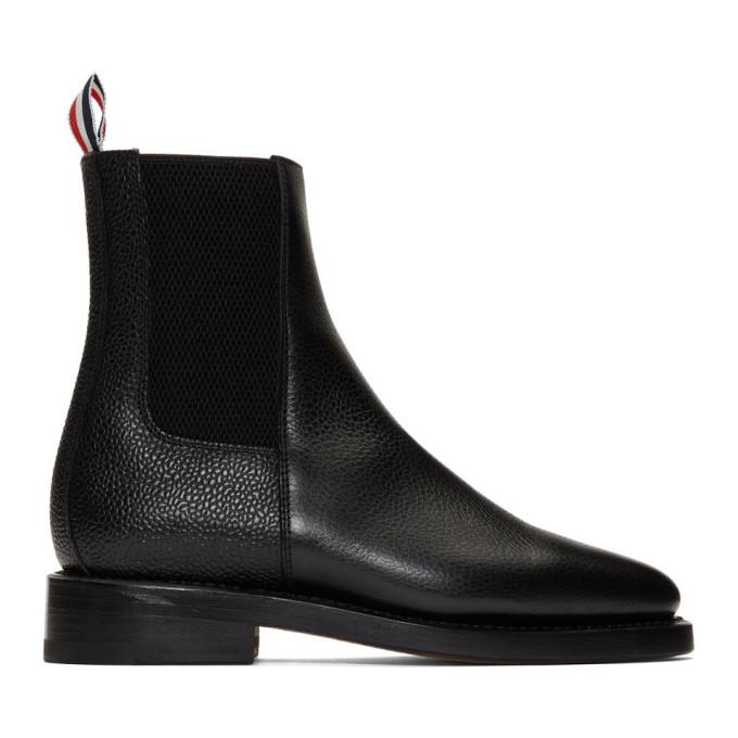 Thom Browne Black Pebble Grain Chelsea Boots