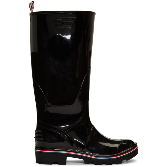 Thom Browne Black Wellington Rain Boots