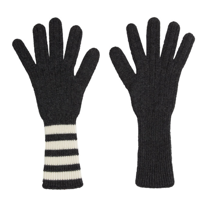 Thom Browne Gants gris Four Bar Stripe