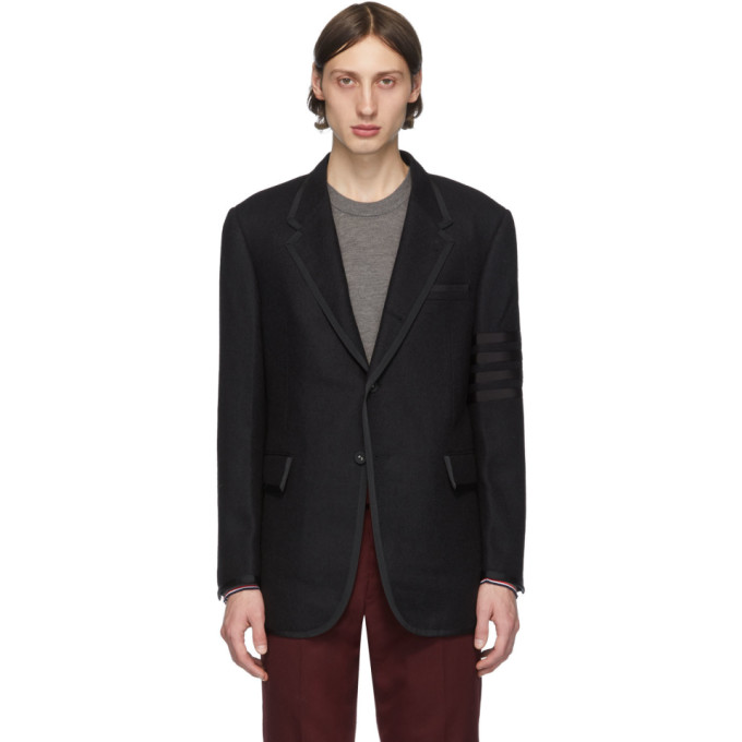 Thom Browne Black Wool 4-Bar Blazer