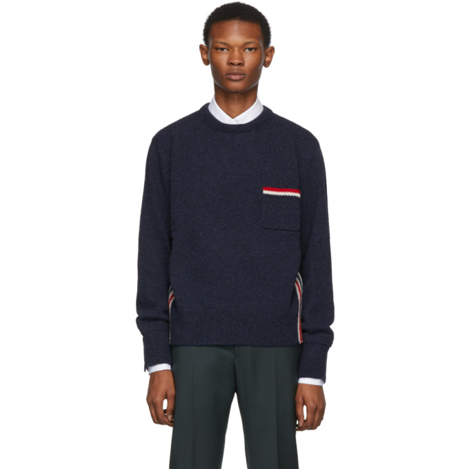 Thom Browne Navy Relaxed Fit Intarsia Stripe Sweater