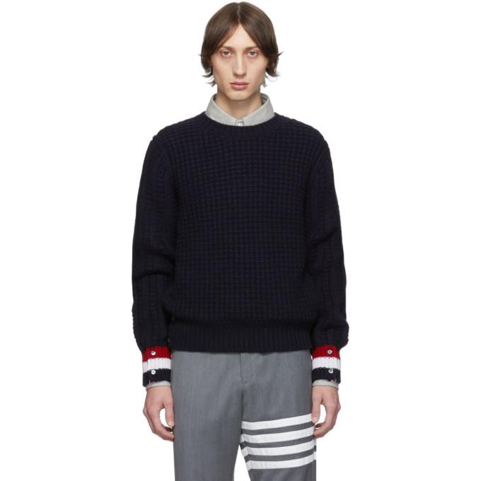 Thom Browne Navy Merino Wool Funmix Stitch Chunky Sweater