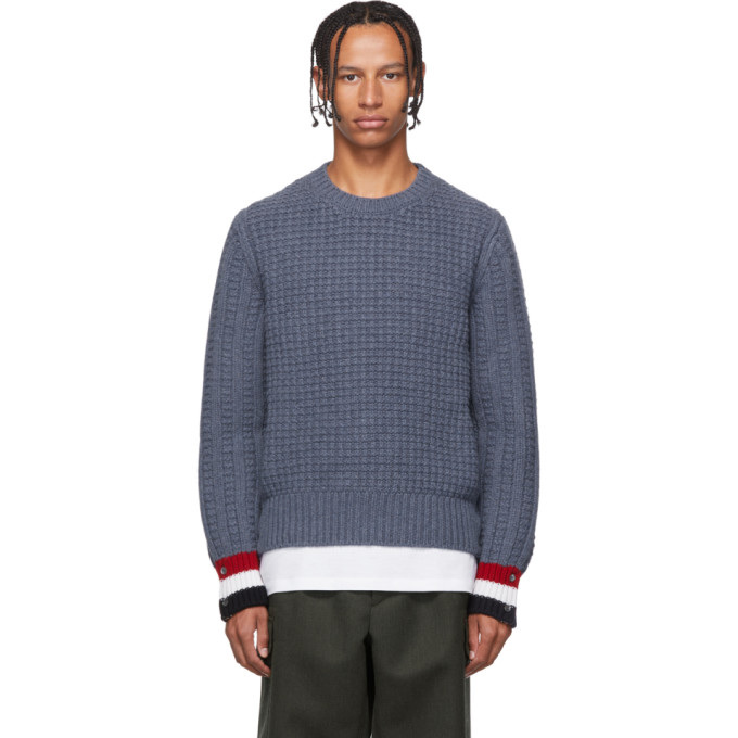 Thom Browne ブルー ファンミックス ステッチ チャンキー セーター