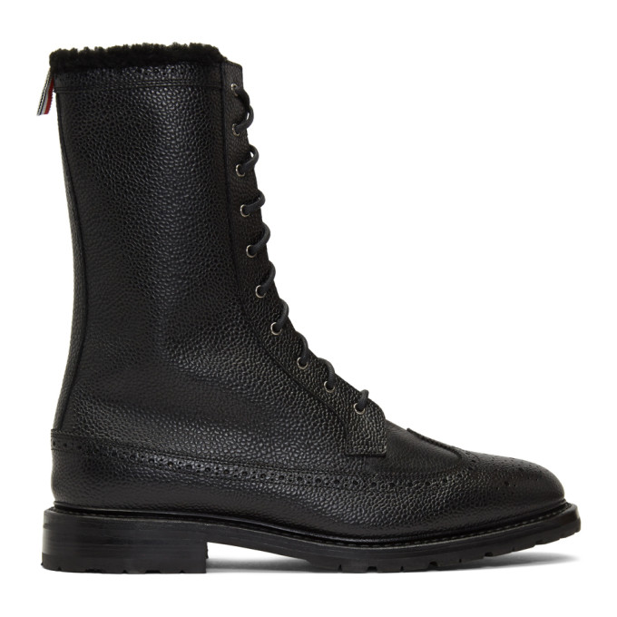 Thom Browne Black Shearling Longwing Commando Boots