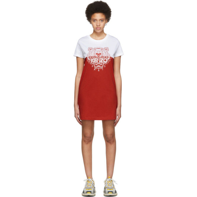 KENZO | Kenzo White And Red Limited Edition Colorblock Tiger Dress | Goxip