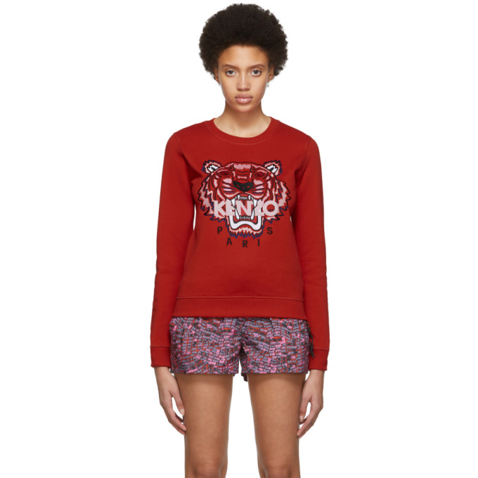 KENZO | Kenzo Red Limited Edition Embroidered Tiger Sweatshirt | Goxip