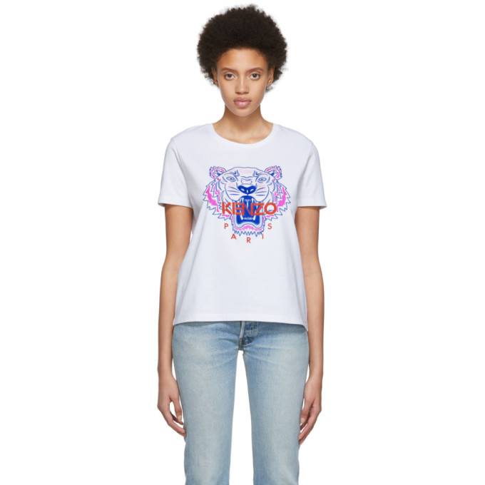 KENZO | Kenzo White Limited Edition Embroidered Tiger T-Shirt | Goxip