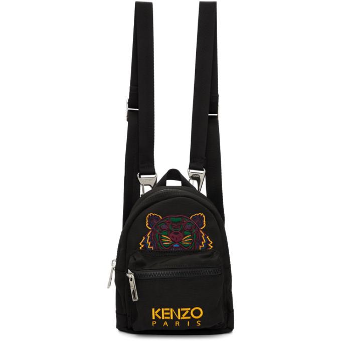 Kenzo ブラック ミニ キャンバス バックパック