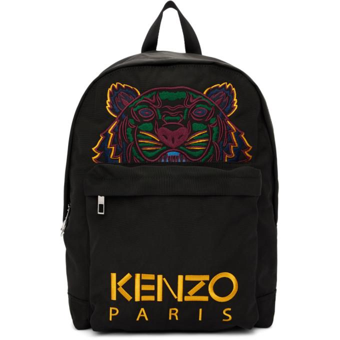 Kenzo ブラック キャンバス タイガー バックパック