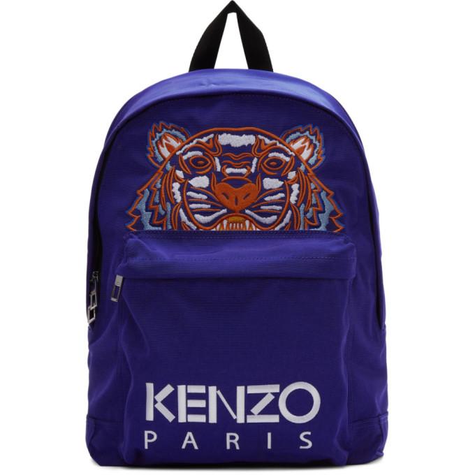 Kenzo ブルー キャンバス タイガー バックパック
