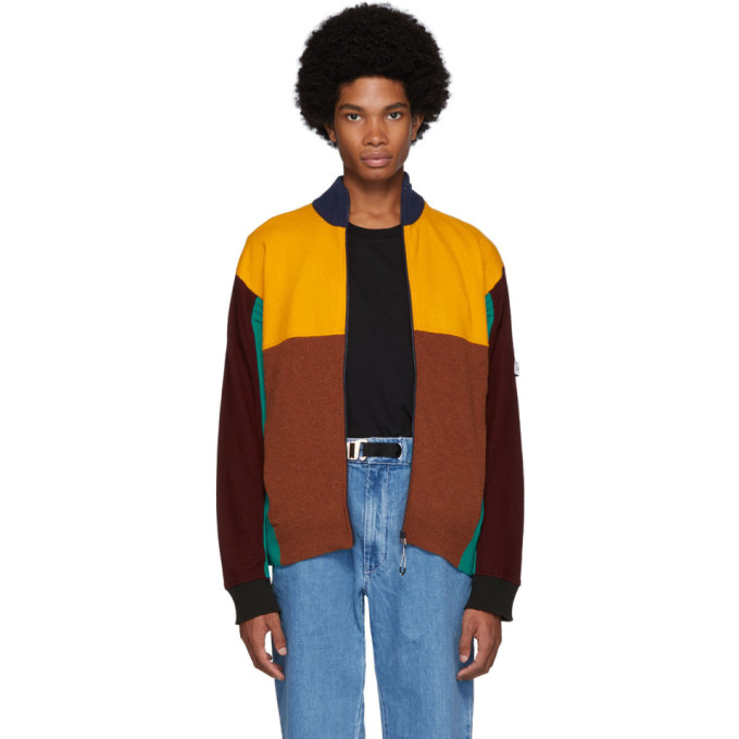 Kenzo Multicolor Wool Colorblock Zip Jacket