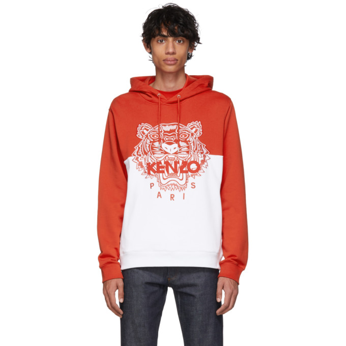 Hoodie Colorblock Tiger And Kenzo Limited Edition Red White KlF1Jc