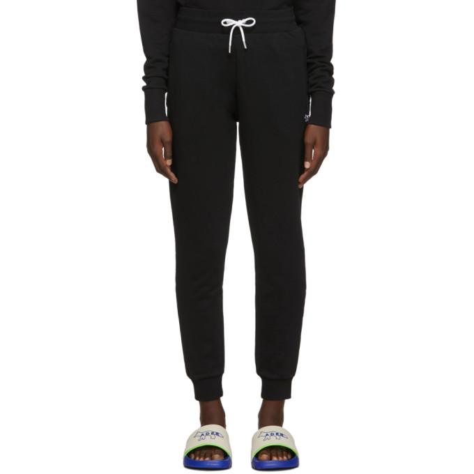 Maison Kitsune Pantalon de survetement noir Tricolor Fox