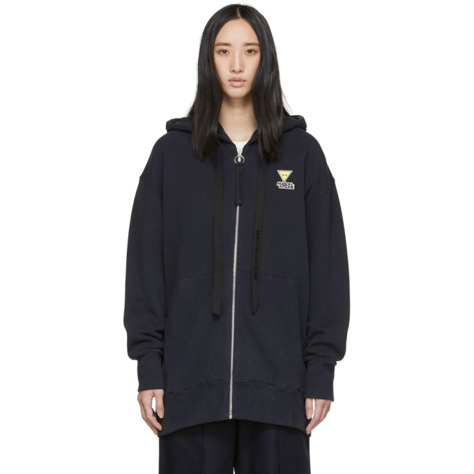 Maison KitsunÉ Maison Kitsune Navy Oversized Zip-up Hoodie In Dark Navy