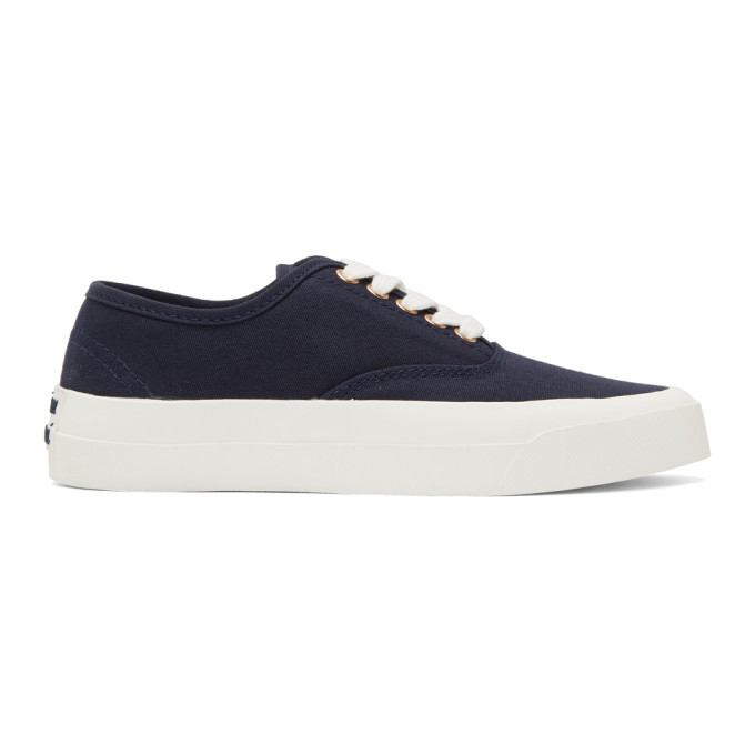 Maison Kitsune Navy Canvas Sneakers